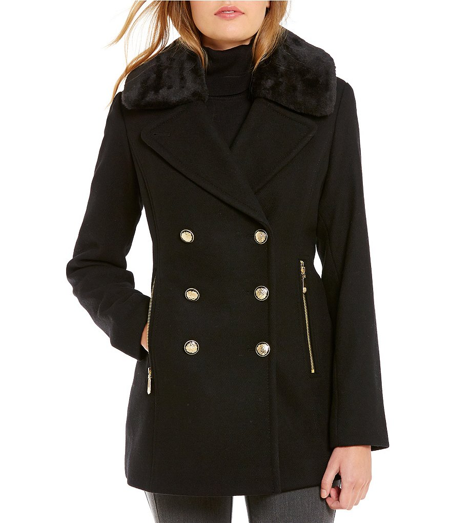 Vince Camuto Faux-Fur Collar Wool Peacoat