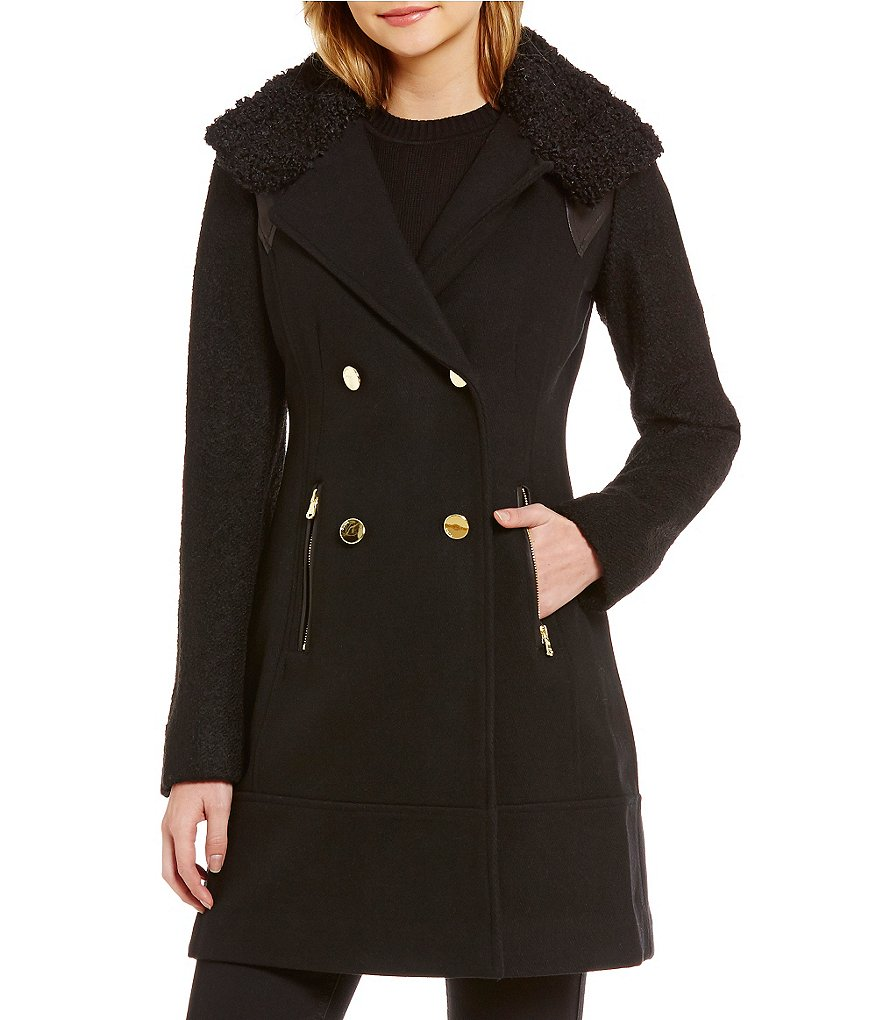 Guess Double Breasted Textured Wool Faux-Fur Collar Elongated Peacoat