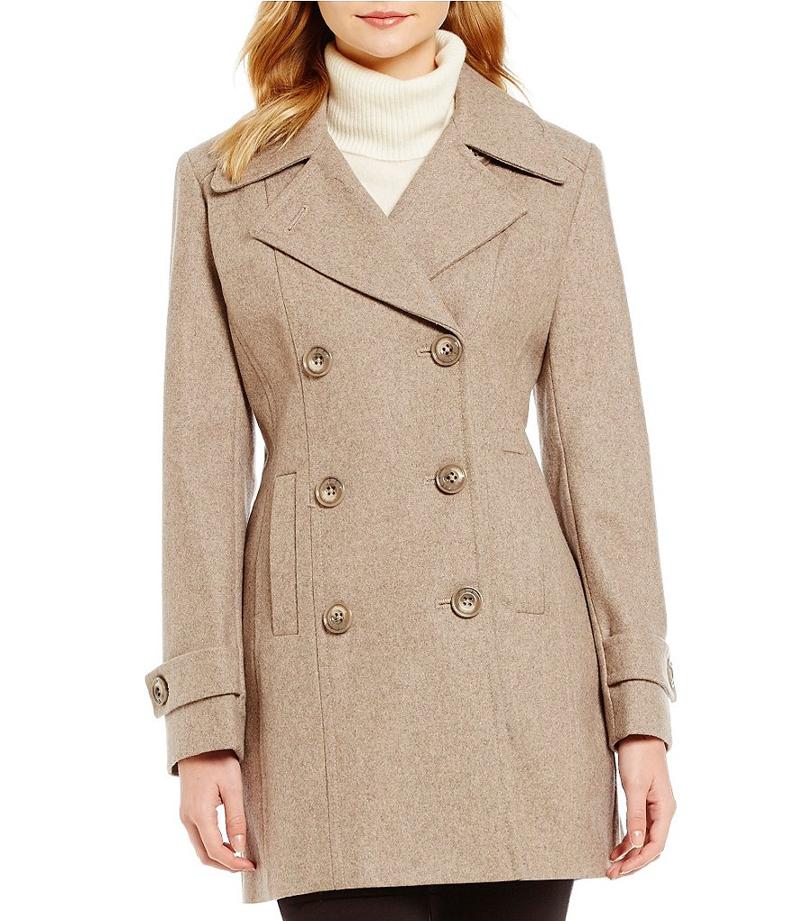 Anne Klein Double Breasted Wool Mid Length Peacoat