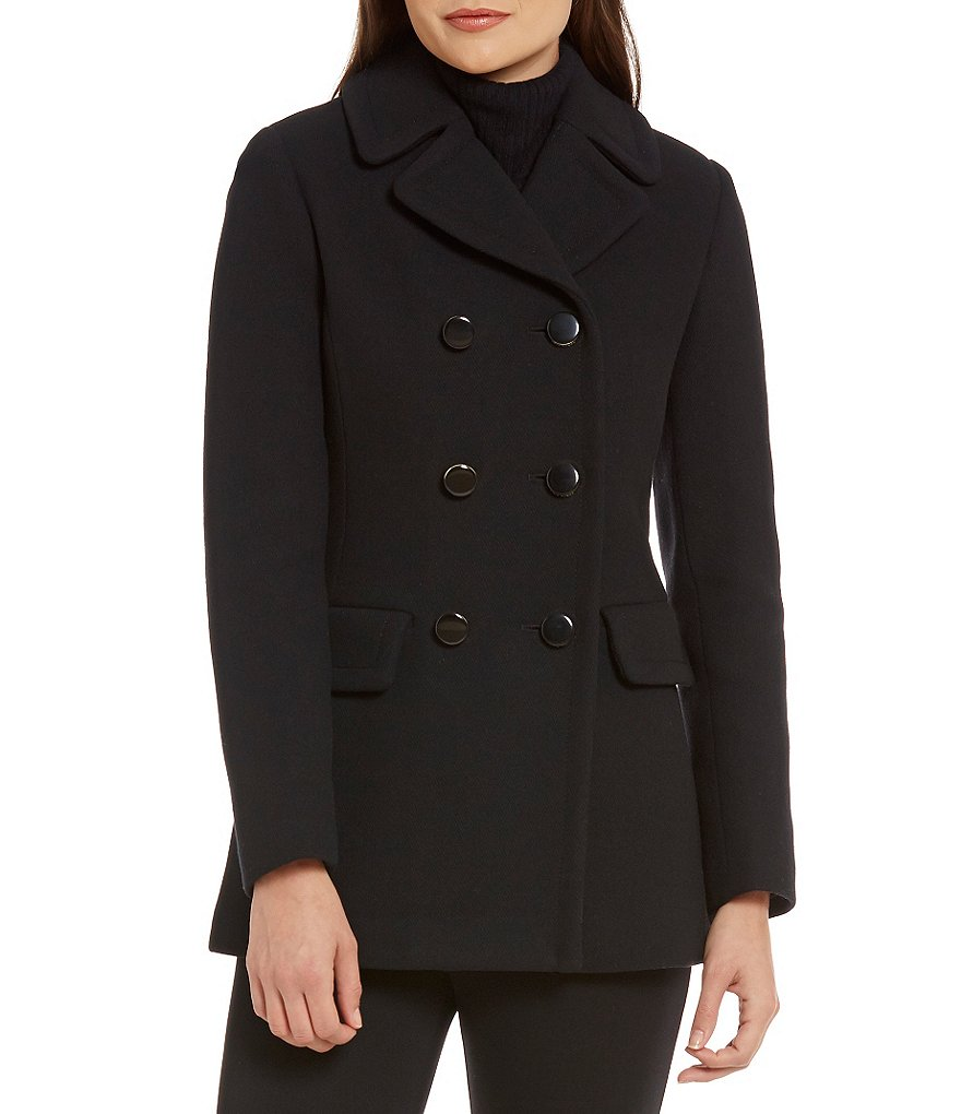 kate spade new york A-Line Double Breasted Back-Bow Wool Coat