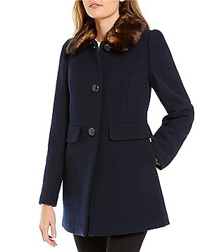 kate spade new york A-Line Faux-Fur Collar Short Wool Coat