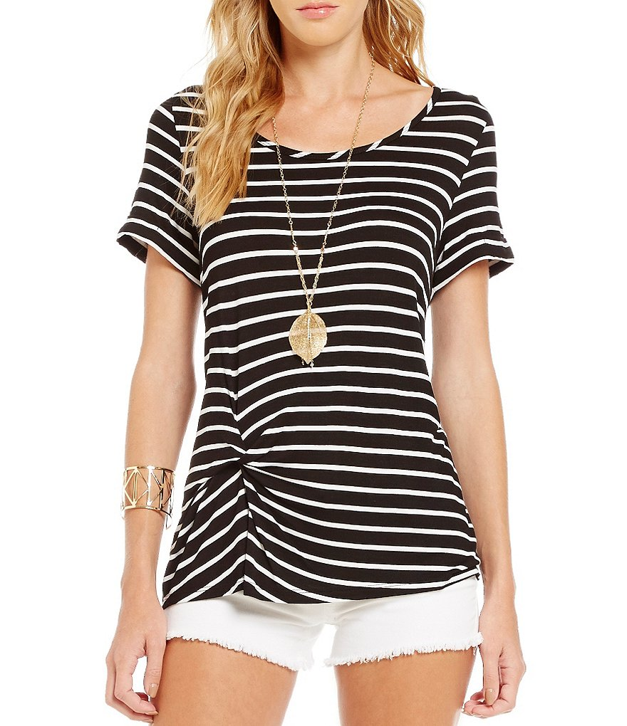 Copper Key Front Twist Striped Knit Top