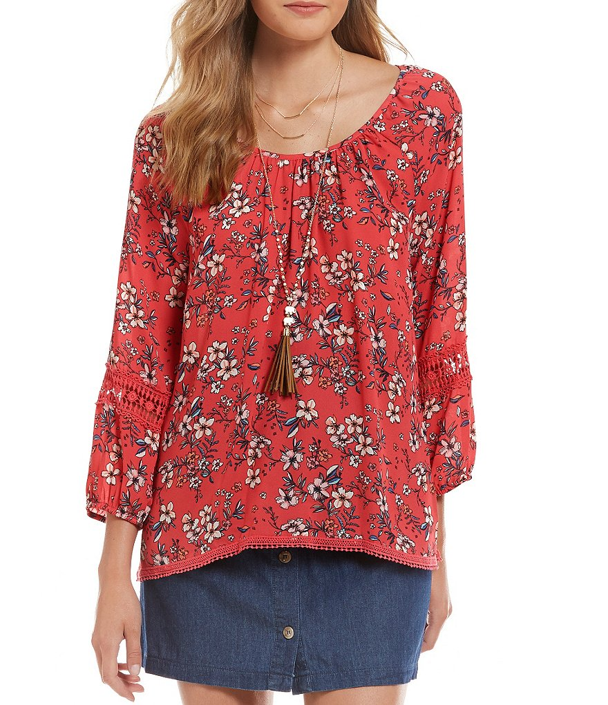 Copper Key Floral Printed Peasant Blouse