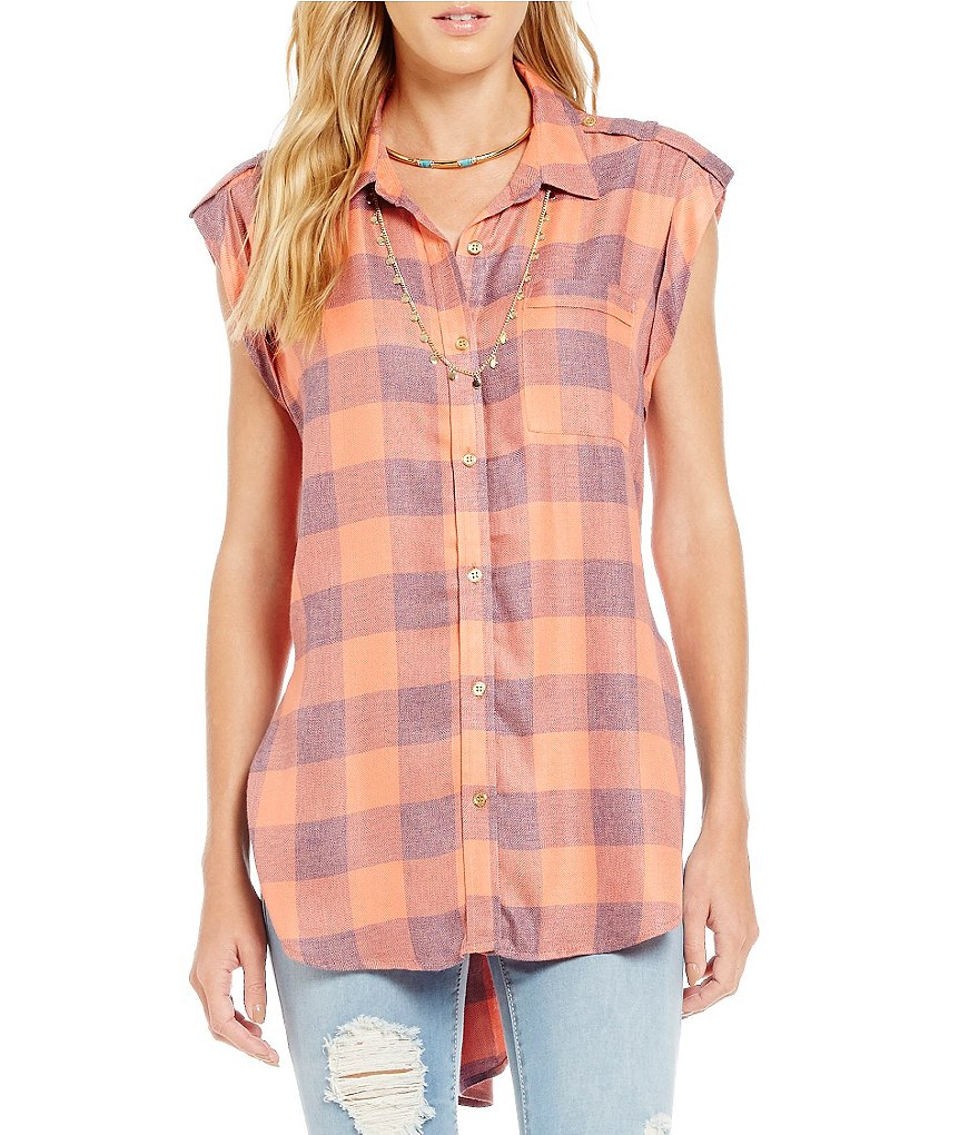 Copper Key Plaid Button Down Top