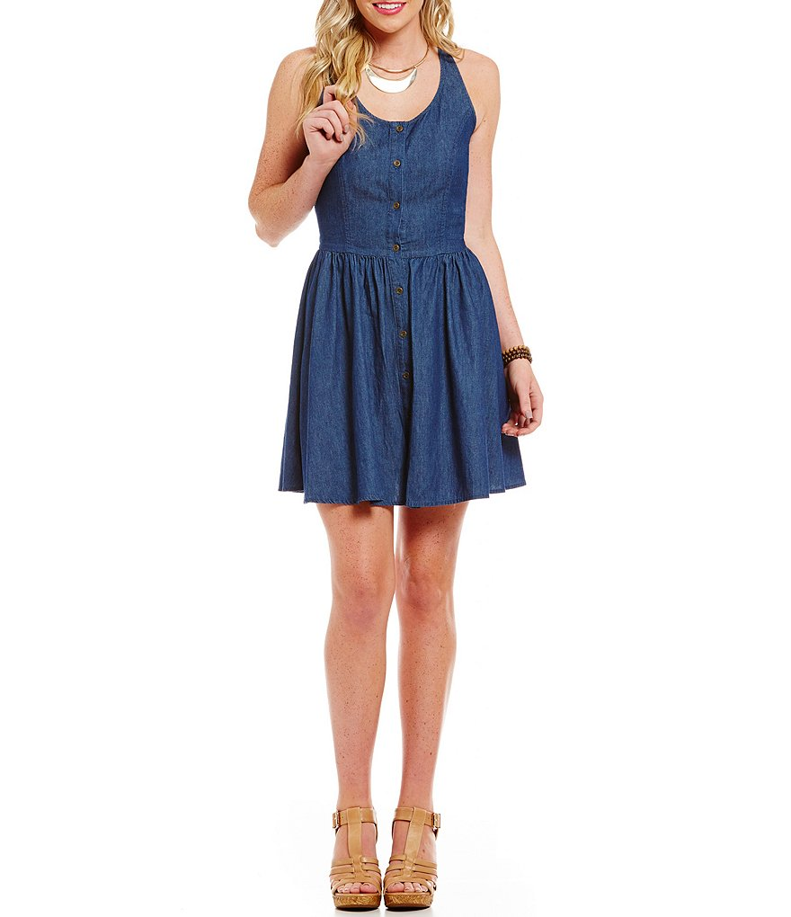 Copper Key Chambray Button-Front Skater Dress