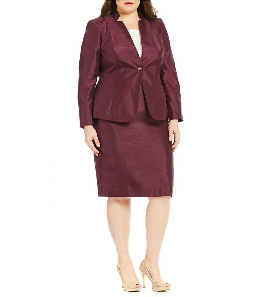John Meyer Plus Shantung 2-Piece Skirt Suit