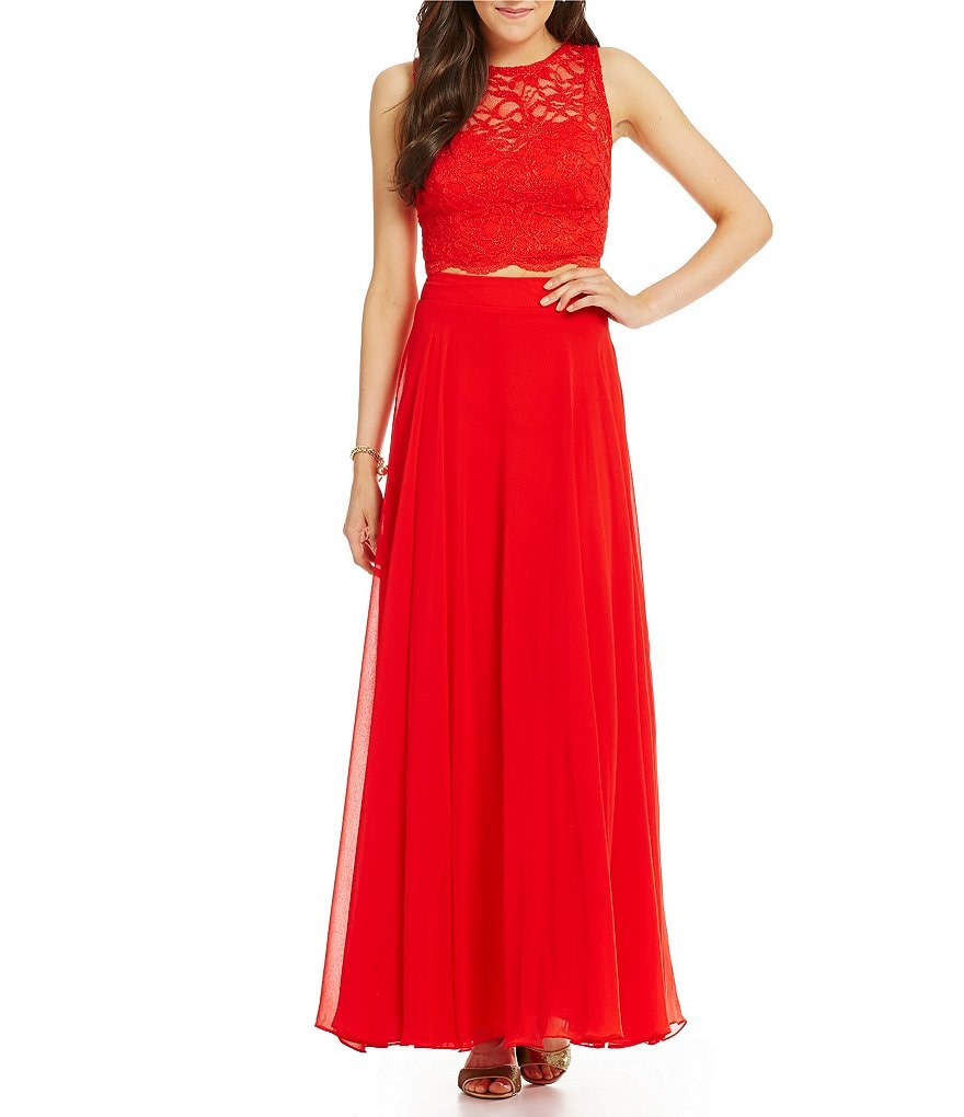 Jodi Kristopher Two-Piece Lace Top Long Dress
