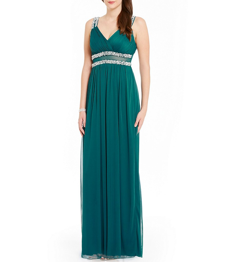 Jodi Kristopher V-Neck Double Trimmed Waist Long Dress
