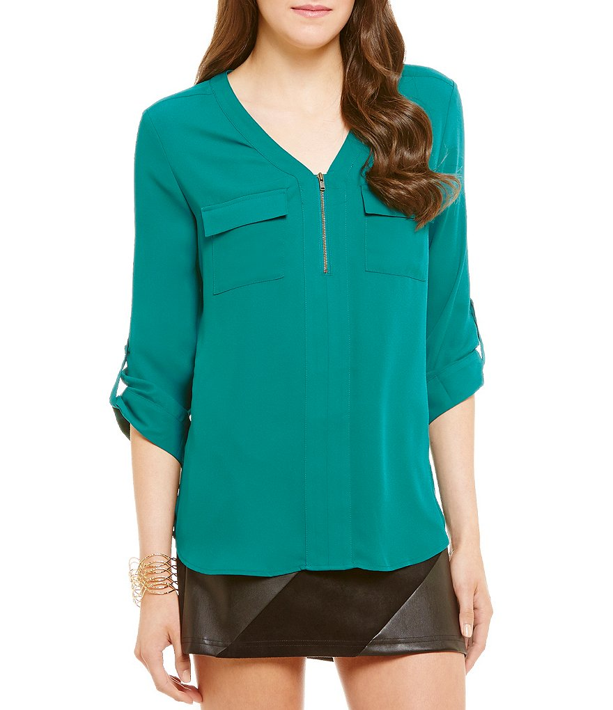 I.N. San Francisco Zipper Front Roll-Tab Sleeve Blouse