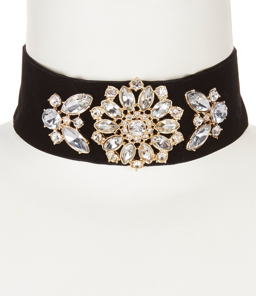 Anna & Ava Kendall Crystal & Velvet Ribbon Choker Necklace