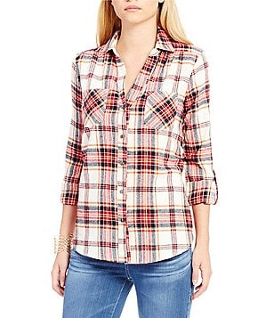 Takara Roll Tab Sleeve Plaid Flannel Shirt