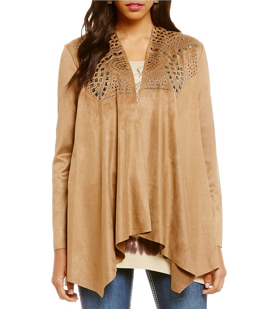Reba Faux Suede Drape Front Studded Jacket