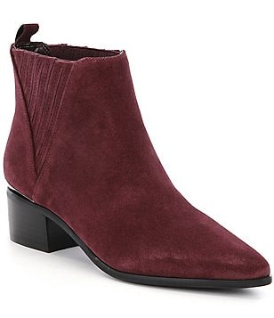 Guess Safarri Suede Pointed Toe Pleated Side Booties
