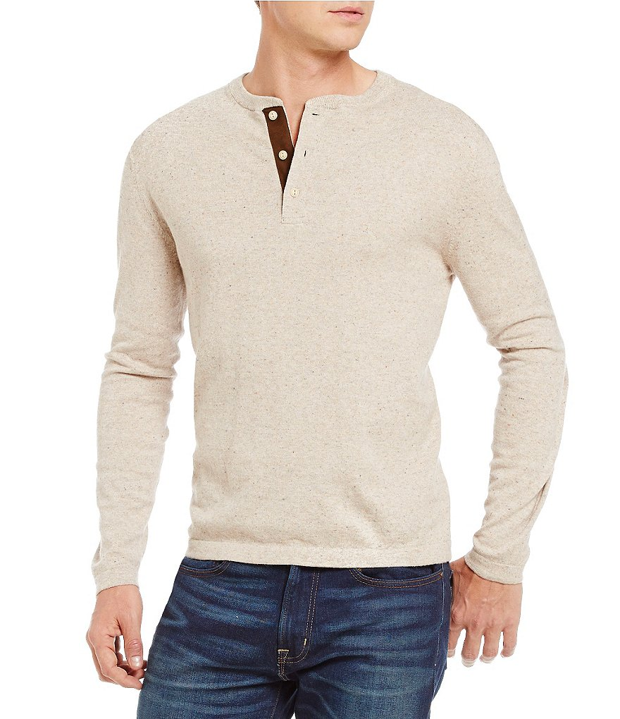 Cremieux Cotton Cashmere Long-Sleeve Henley Shirt