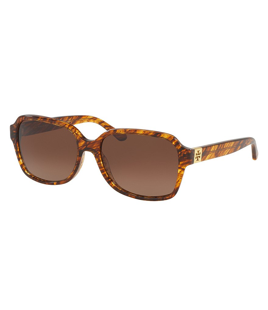Tory Burch Polarized Modern Rectangle Sunglasses