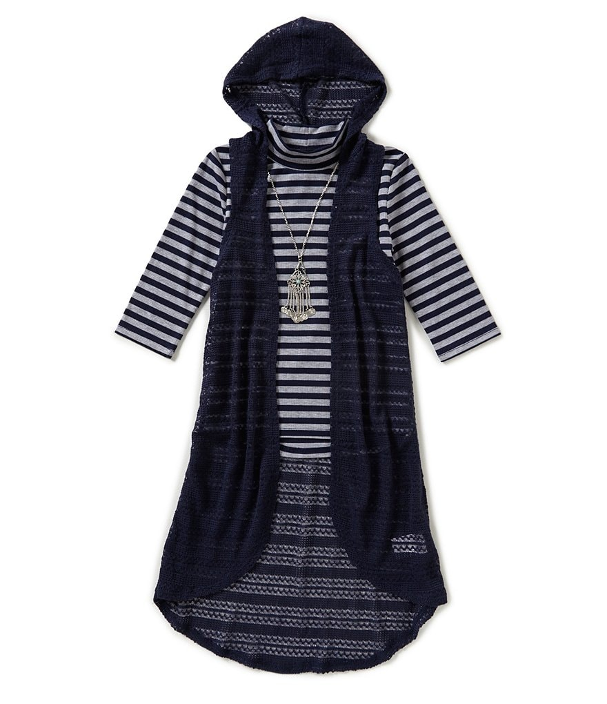 Xtraordinary Big Girls 7-16 Striped Top and Vest Set