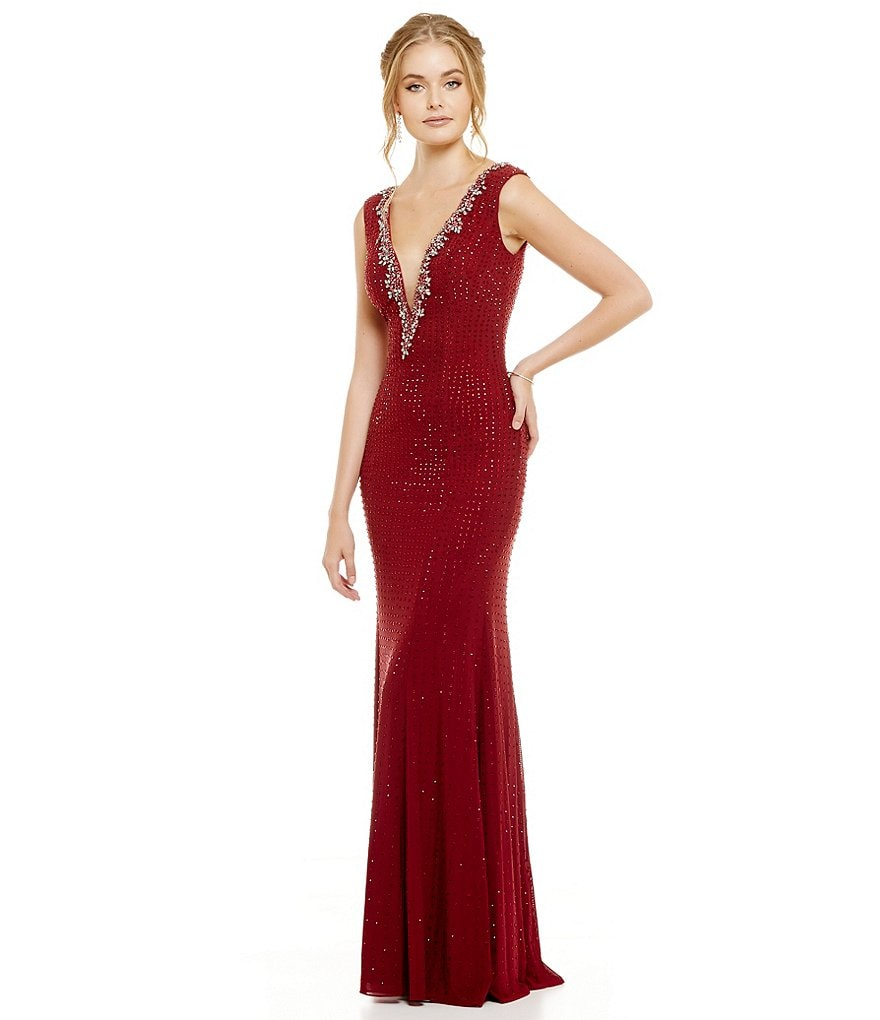 Terani Couture V-Neck All Over Beaded Gown