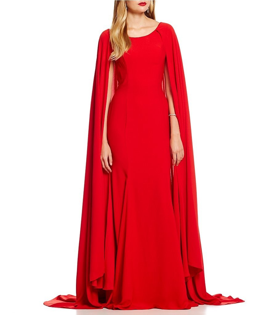 Terani Couture Boat Neck Cape Gown