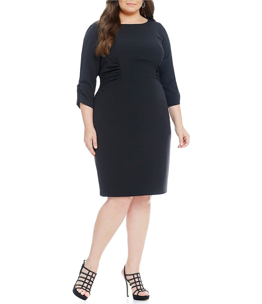 Adrianna Papell Plus 3/4-Sleeve Crepe Ruched Dress