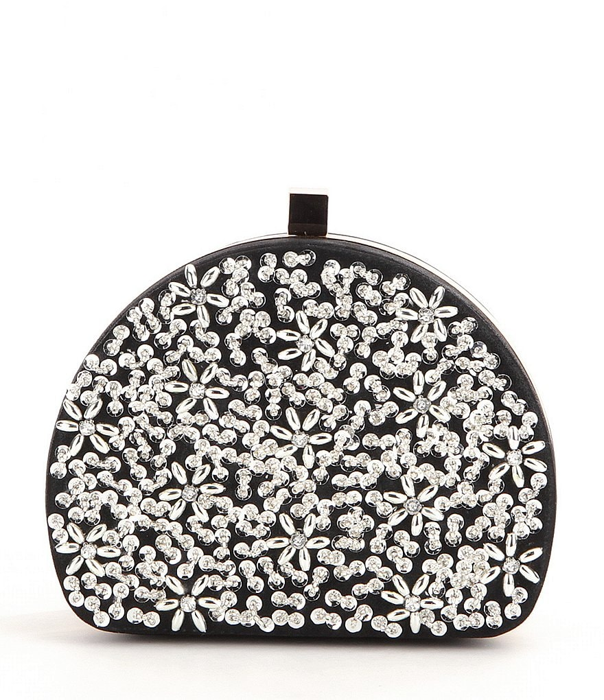 Kate Landry Beaded Sequined Dome Frame Clutch