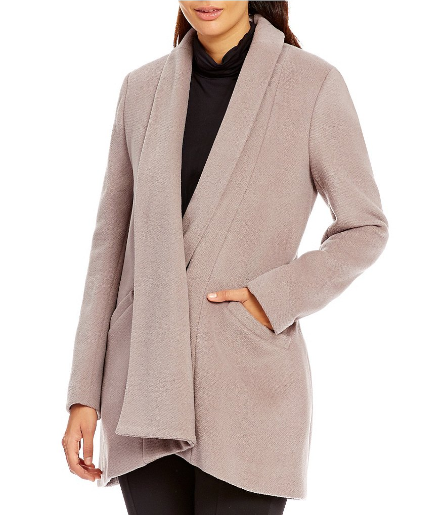 Calvin Klein Lux Basket Weave Wool Coat