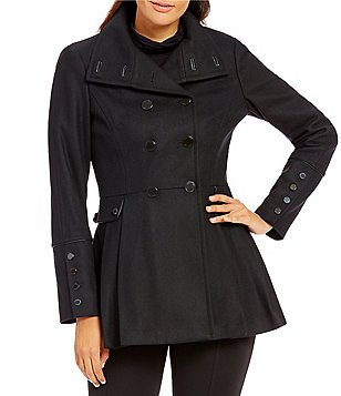 Calvin Klein Wool Melton Pleated-Skirt Military Coat
