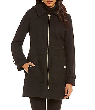 Michael Michael Kors Mid Wool Zip Front Hooded Coat
