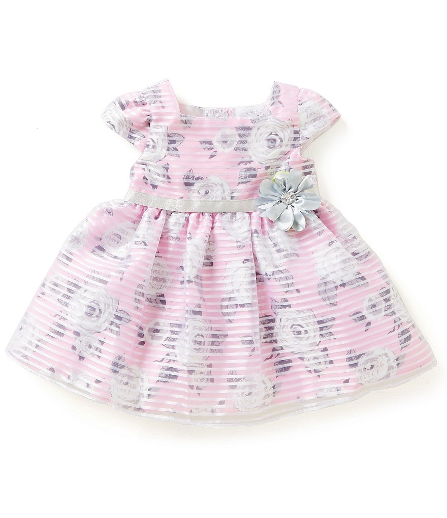 Sweet Heart Rose Baby Girls 12-24 Months Striped Organza Dress