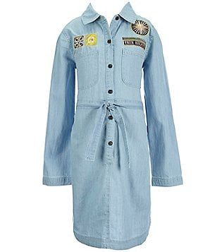 True Religion Big Girls 7-16 Button-Down Chambray Embroidered Patch Shirt Dress