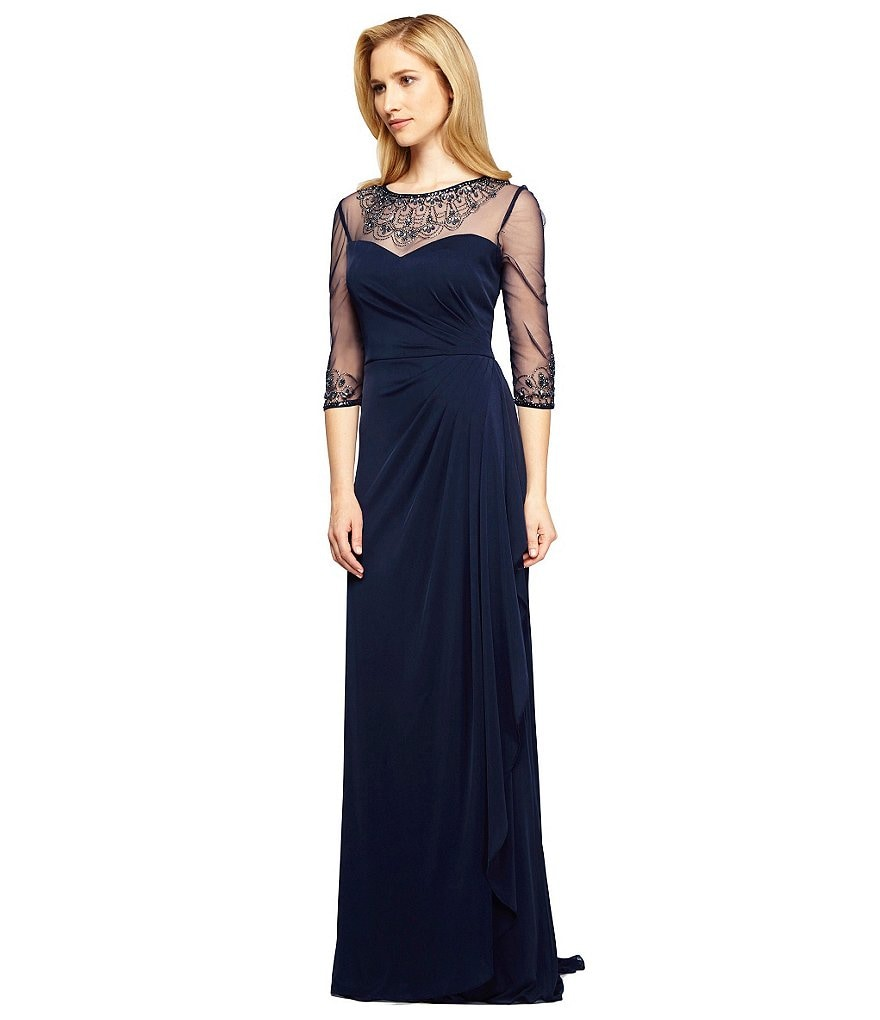 Alex Evenings Petite A-Line Illusion Neck Beaded Gown