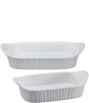 CorningWare French White 2-Piece Rectangular Baking Dish Set