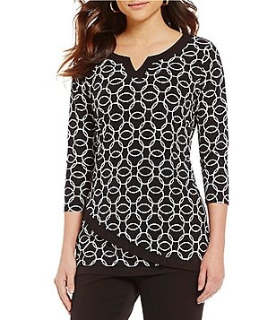 Allison Daley Split V-Neck 3/4 Sleeve Printed Layered Jersey Tunic