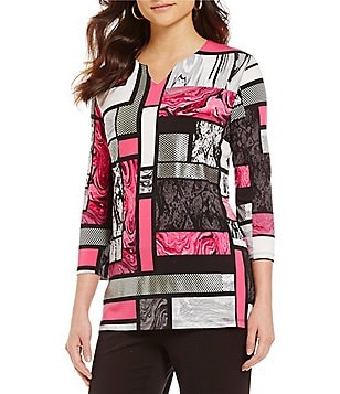 Allison Daley Notch V-Neck 3/4 Sleeve Print Tunic