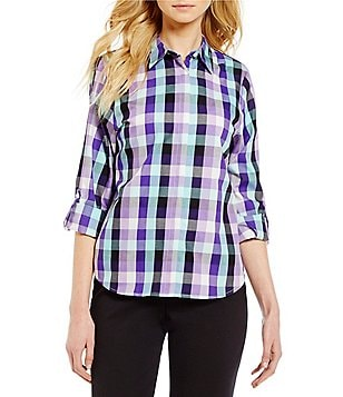 Allison Daley Roll-Tab Sleeve Plaid Print Woven Shirt