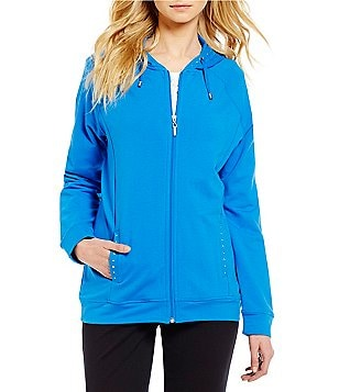 Allison Daley Round Neck Long Sleeve Zip Front Hooded Solid Jacket