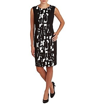 Allison Daley Jeweled Neck Sleeveless Print Contrast Sheath Dress