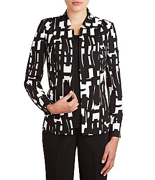 Allison Daley Stand Collar Open Front Printed Jacket
