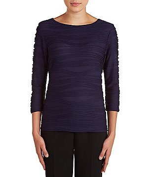 Allison Daley Wide Crew Neck 3/4 Sleeve Solid Wave Pleated Knit Top