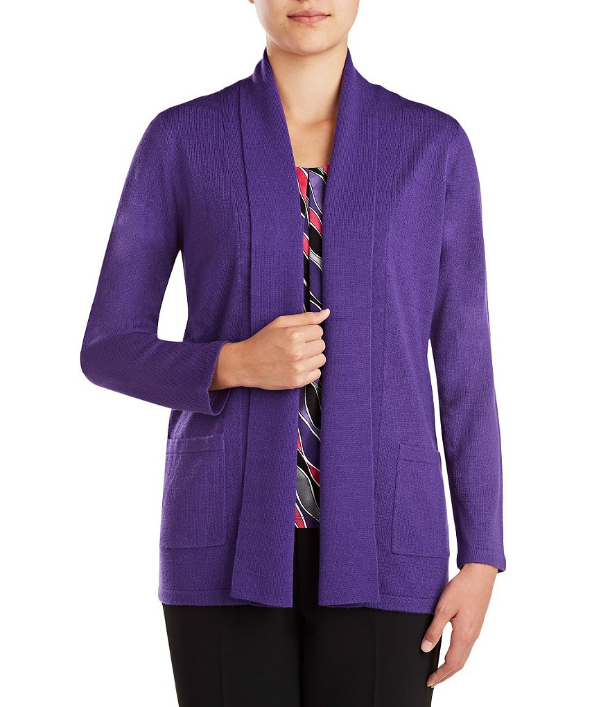 Allison Daley Open Front Shawl Collar Solid Cardigan