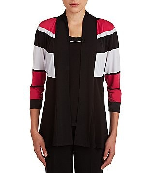 Allison Daley Striped Open Front 3/4 Sleeve Cardigan