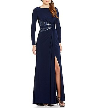 Adrianna Papell Long Sleeve Sequin Panel Matte Jersey Gown