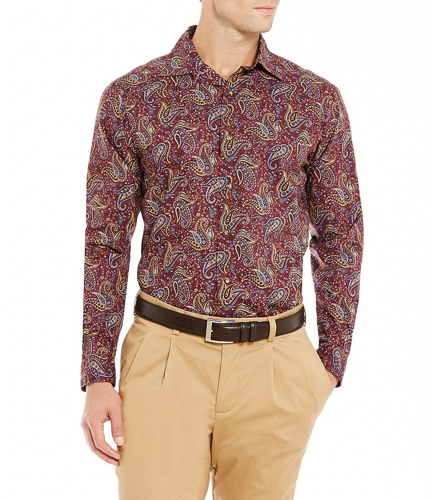 Cremieux Long-Sleeve Paisley Print Woven Shirt