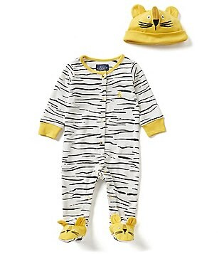 Joules Baby Boys Newborn-12 Months Tiger Footed Coverall and Hat Set