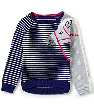 Joules Little Girls 3-6 Striped Horse Sweater