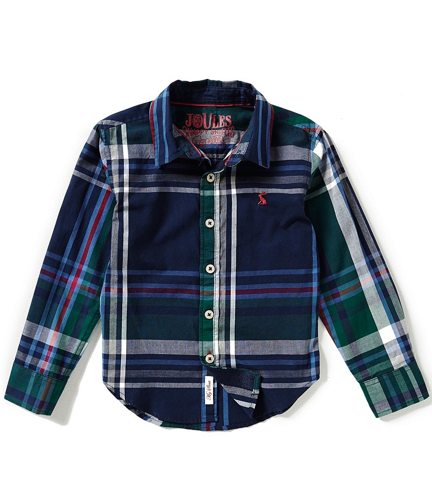 Joules Little Boys 3-6 Plaid Long-Sleeve Button-Front Top
