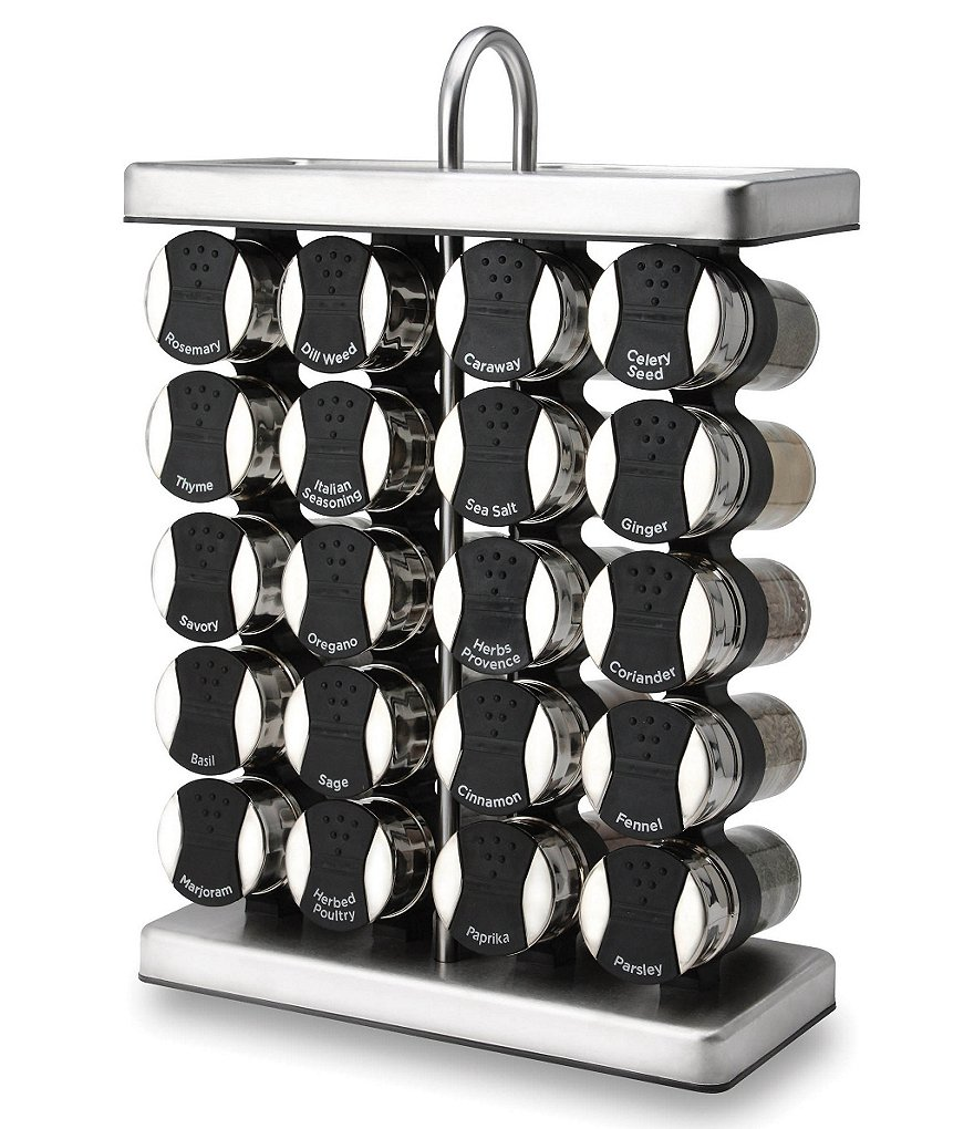 Olde Thompson 20-Jar Traditional Spice Rack with Spices