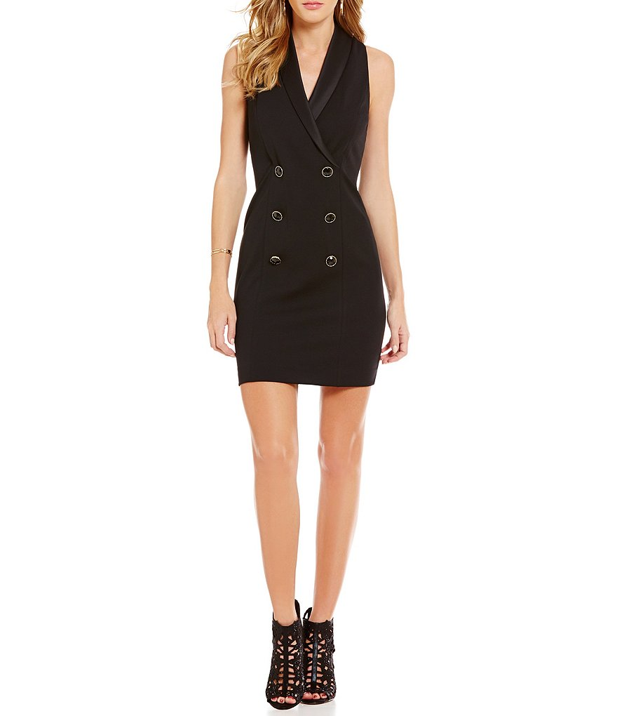 Jessica Simpson Button-Front Trench Sheath Dress