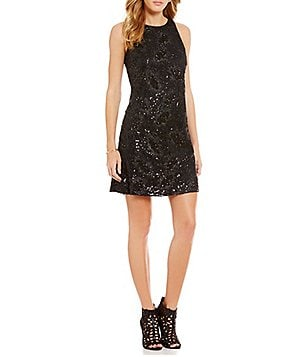 Jessica Simpson Sequined Trapeze Shift Dress