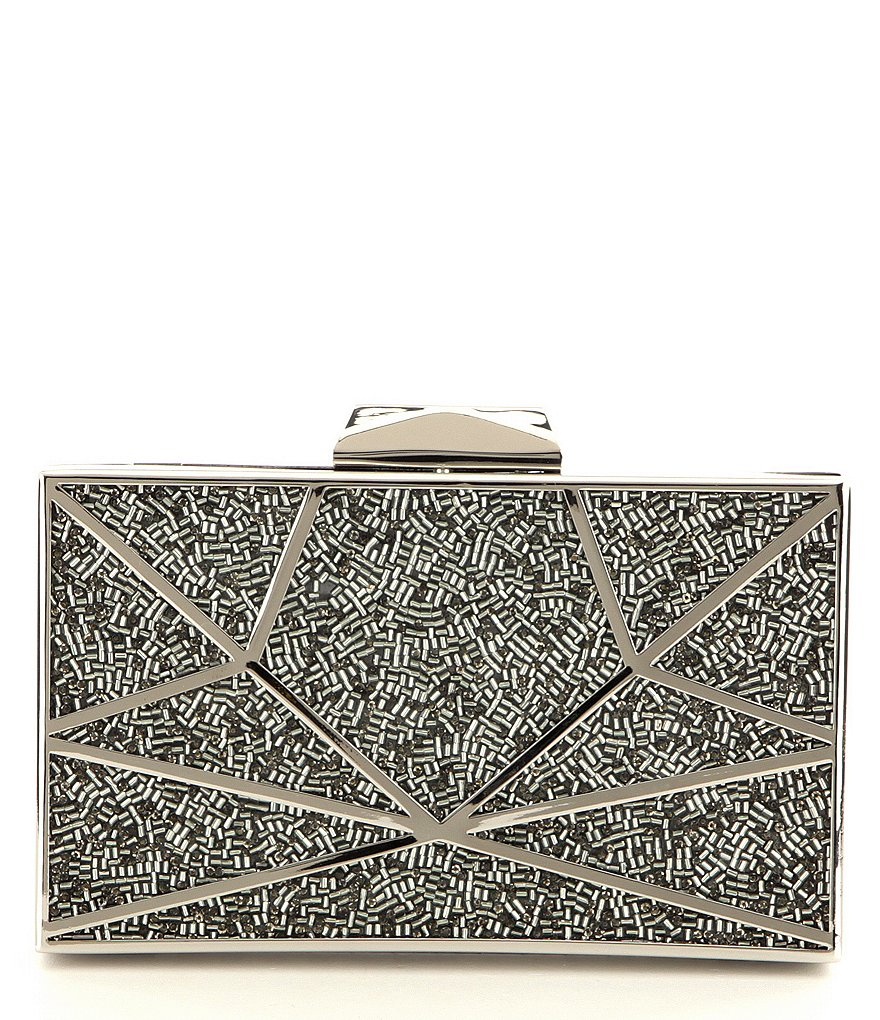 Kate Landry Beaded-Inlay Hard Frame Clutch