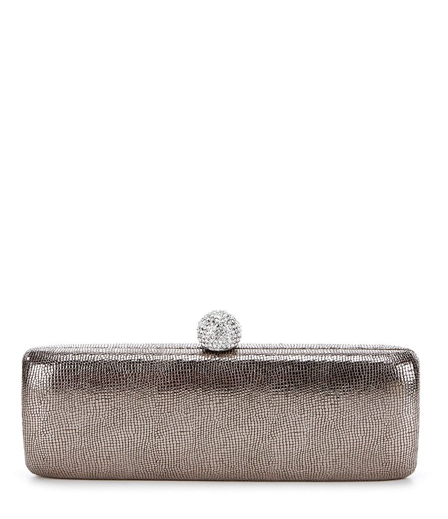 Kate Landry Metallic Reptile-Embossed Clutch